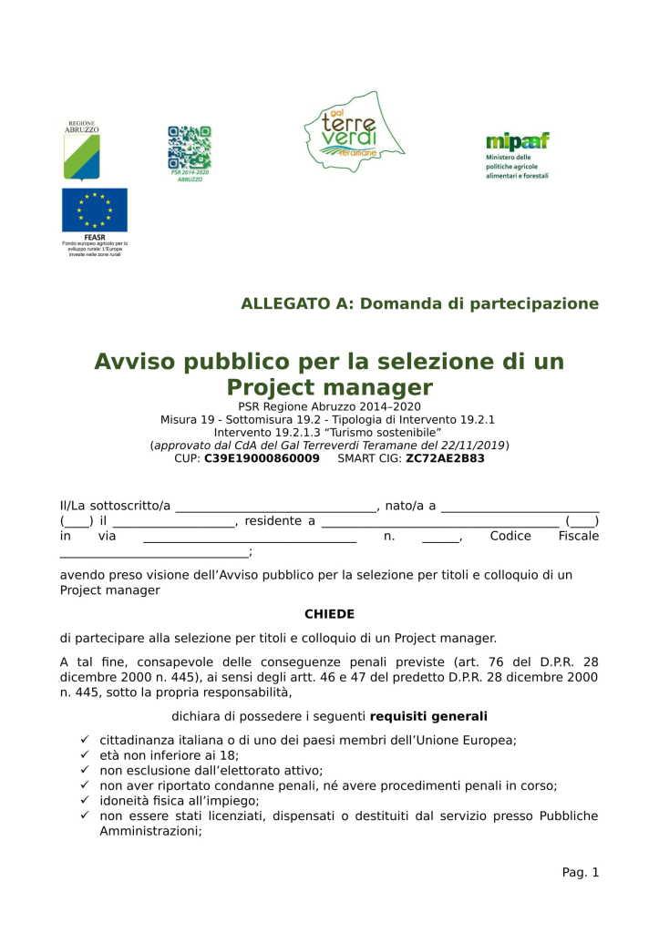 Allegato A Domanda Avviso project manager-1
